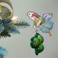 Irish fairies decorating a Christmas Tree