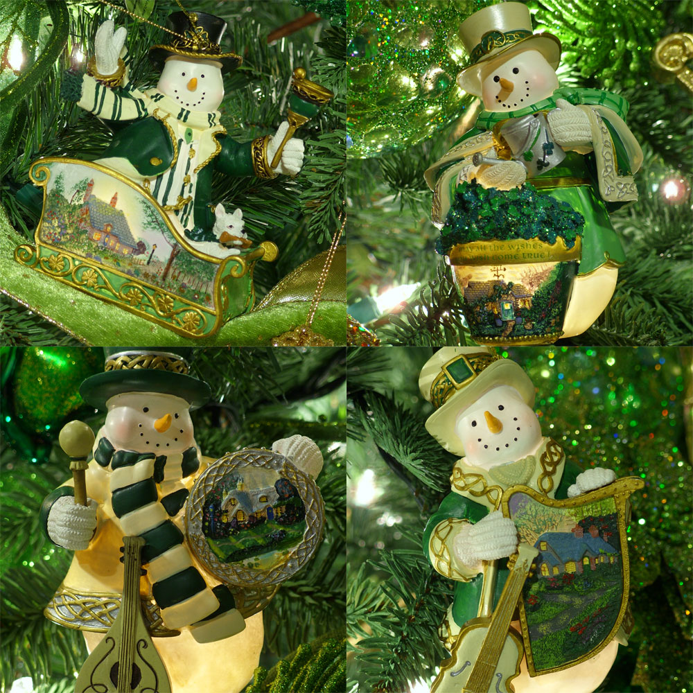 Thomas Kinkade Irish Snowman Christmas Tree Ornaments