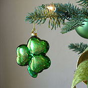 Irish Shamrock Christmas Ornament hanging on tree