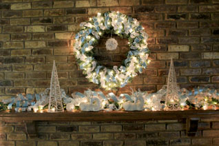 Blue White Silver Mantel decorations