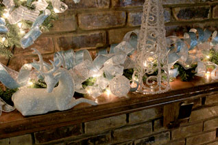 close-up of blue white silver mantel decorations