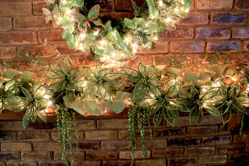 green mantel theme close up of green mantel decorations - Christmas Mantel Decor