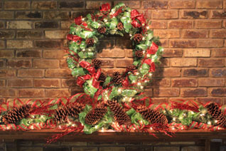 pinecones w/ red & green mantel decor
