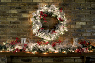 silver, white & red berry mantel theme