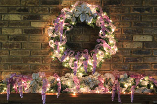 violet and silver mantel theme